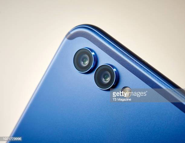 Detail of the dual rear cameras on an Honor View 10 smartphone, taken on January 18, 2018.