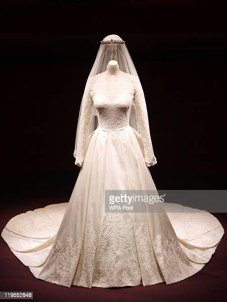 A detail of the Duchess of Cambridge's wedding dress designed by Sarah Burton for Alexander McQueen is photographed before it goes on display at...