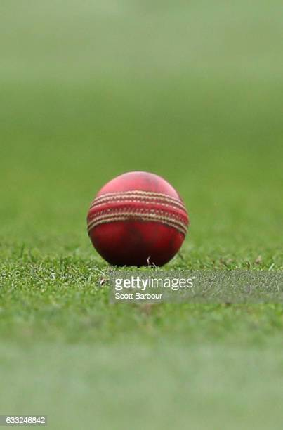 A detail of the Dukes ball during the Sheffield Shield match between Victoria and New South Wales at the Melbourne Cricket Ground on February 1 2017...