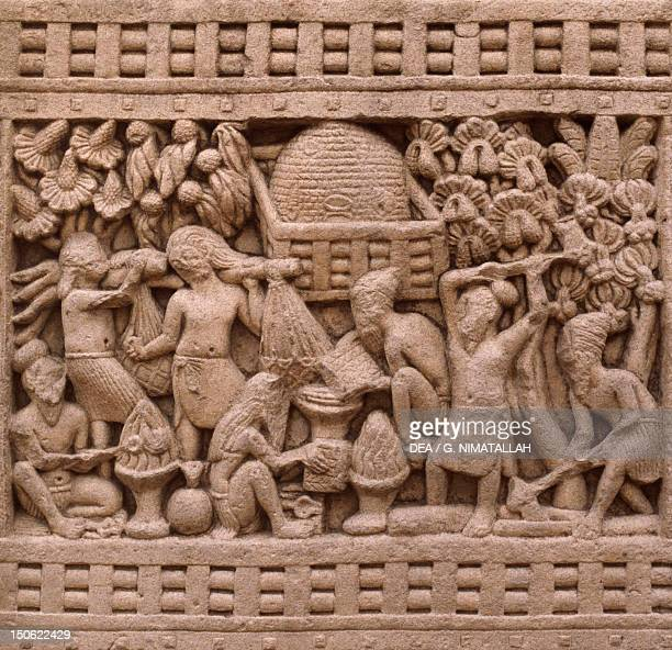 Detail of the east side of the Stupa I in Sanchi India Indian Civilization 3rd2nd century BC