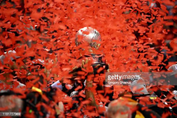 A detail of the Eastern Conference Finals trophy as the Toronto Raptors celebrate defeating the Milwaukee Bucks 10094 in game six of the NBA Eastern...