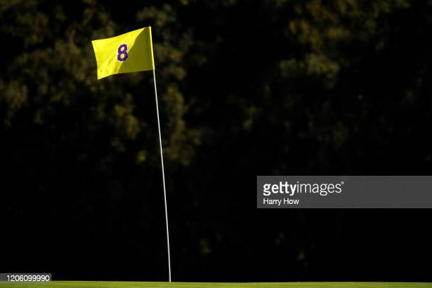 A detail of the eighth green flag honoring former NBA star Kobe Bryant during the first round of the Genesis Invitational on February 13 2020 in...