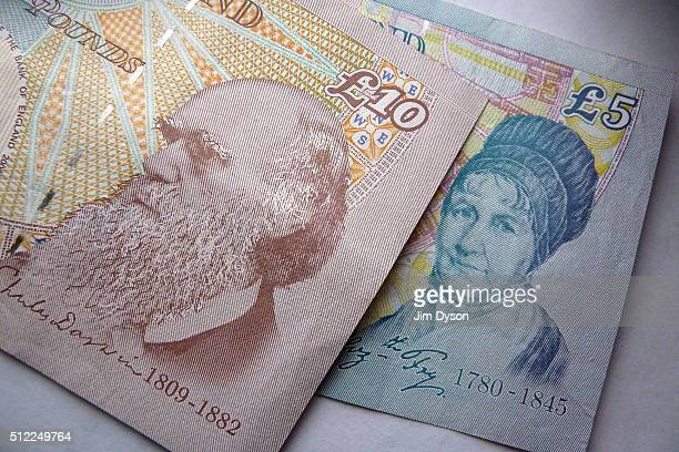 A detail of the Elizabeth Fry portrait on a £5 banknote and the Charles Darwin portrait on a £10 note on February 24 2016 in London England The next...