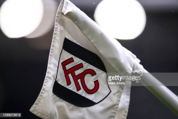 Detail of the embroidered corner flag bearing the Fulham FC club crest during the Premier League match between Fulham and Newcastle United at Craven...
