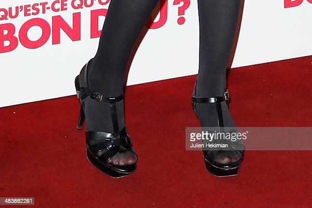 A detail of the Emilie Caen shoes pictured during the 'Qu'estce Qu'on A Fait Au Bon Dieu' Paris Premiere at Le Grand Rex on April 10 2014 in Paris...