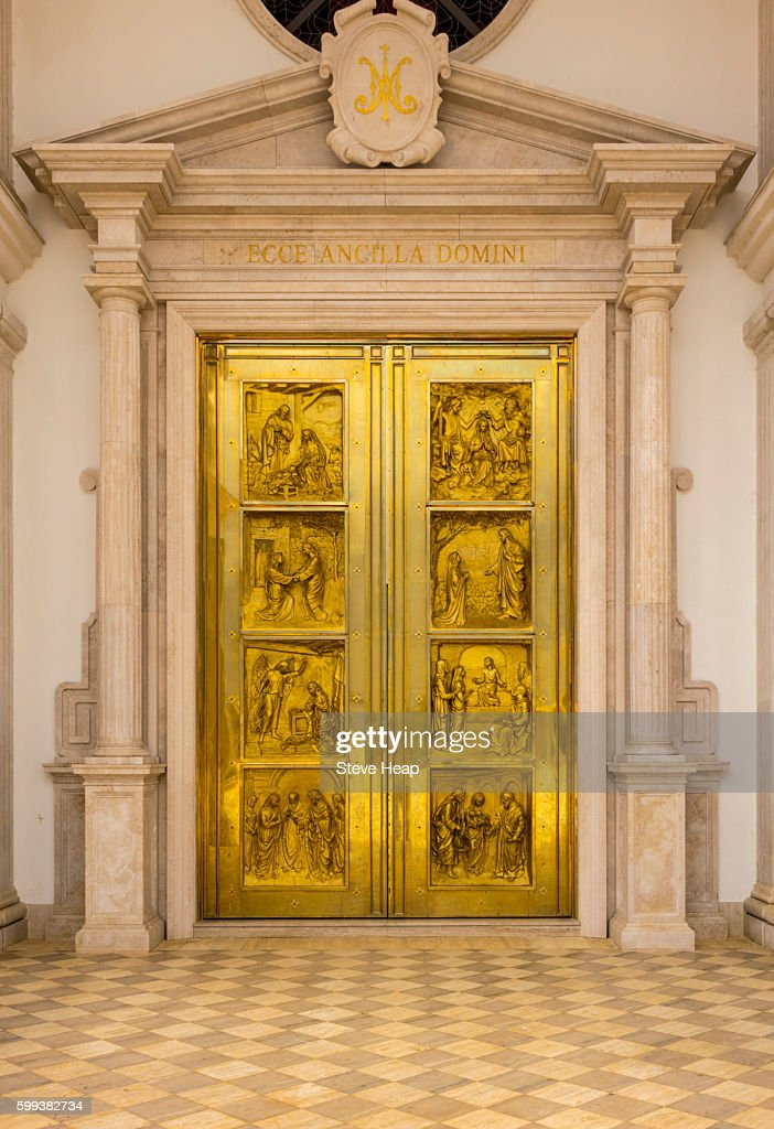 Detail of the entrance doors to the Basilica of the Immaculate Conception of the Virgin Mary & Golden Door Stock Photos and Pictures | Getty Images
