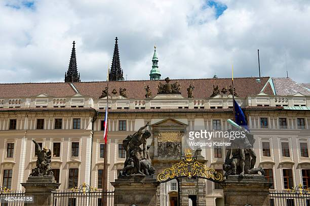 Detail of the entrance gate to the Prague Castle in Prague the capital and largest city of the Czech Republic