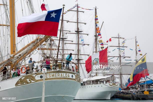 Detail of the Esmeralda from Chile BAP Union from Peru and Simon Bolivar from Venezuela during the Velas Latinoamerica 2018 Nautical Festival at...