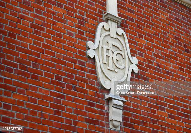 Detail of the exterior of Craven Cottage home of Fulham FC is seen as football in England remains suspended due to Covid19 on March 21 2020 in London...