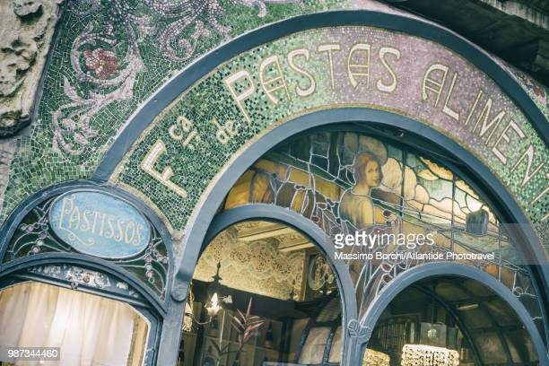 detail of the façade of antigua casa figueras, exemple of modernismo - art nouveau stock pictures, royalty-free photos & images