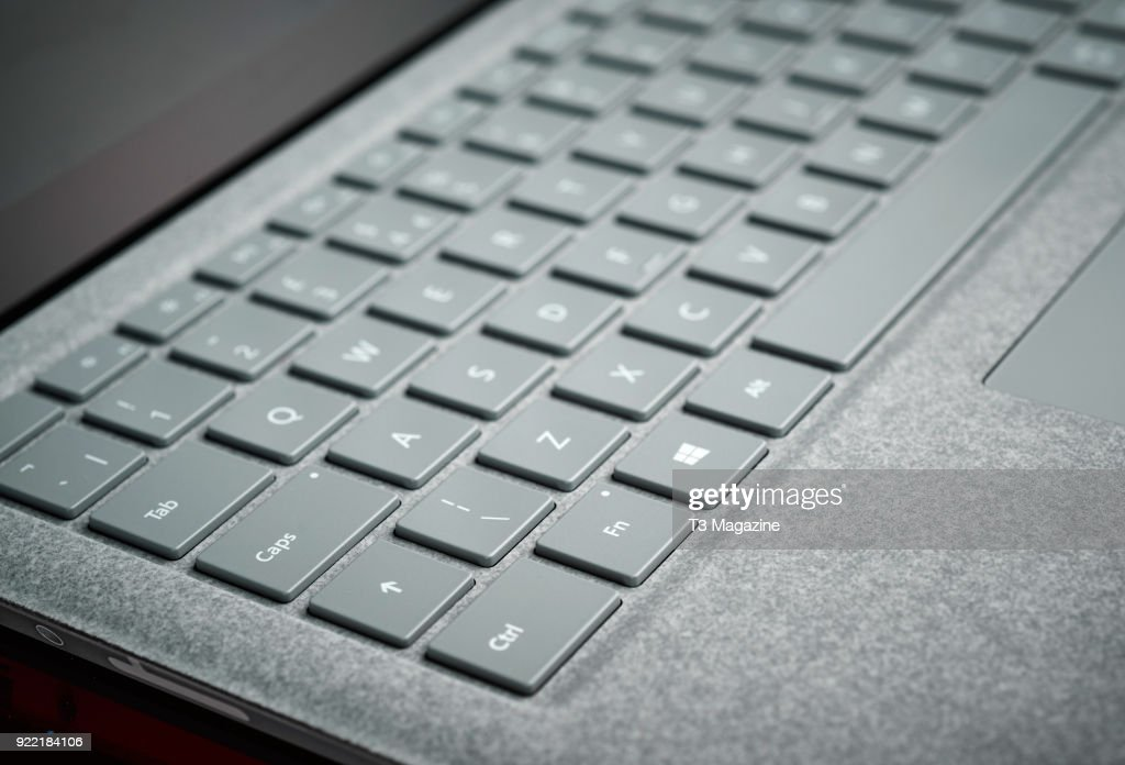 Detail of the fabric keyboard surround on a Microsoft Surface laptop, taken on July 7, 2017.