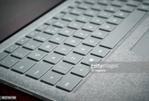 Detail of the fabric keyboard surround on a Microsoft Surface laptop taken on July 7 2017