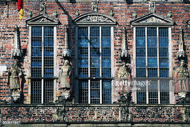 Detail of the facade of the gothic and renaissance City Hall 14051612 Bremen Germany 15th17th century
