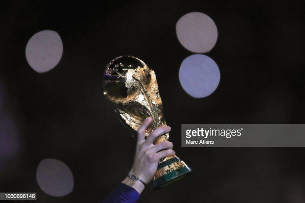 Detail of the FIFA World Cup Trophy during the UEFA Nations League A group one match between France and Netherlands at Stade de France on September 9...