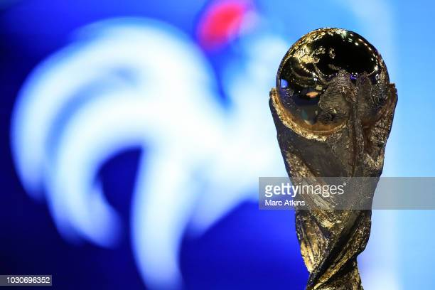 Detail of the FIFA World Cup Trophy during the UEFA Nations League A group one match between France and Netherlands at Stade de France on September...