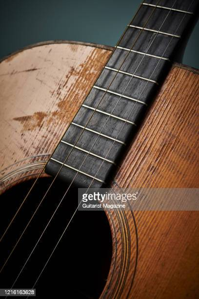 Detail of the fingerboard on a vintage 1929 Martin 0-18T acoustic guitar, taken on April 5, 2019.