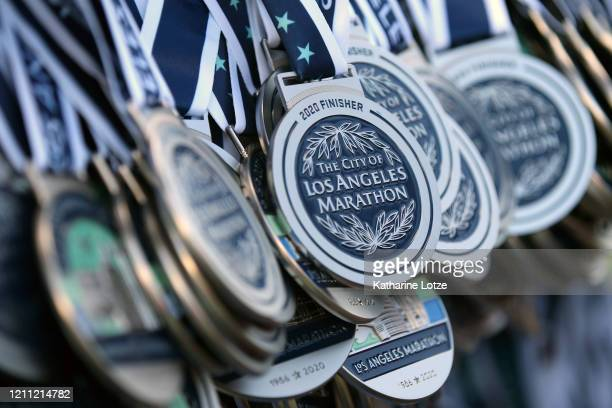 A detail of the finisher's medals at the 2020 Los Angeles Marathon on March 08 2020 in Los Angeles California