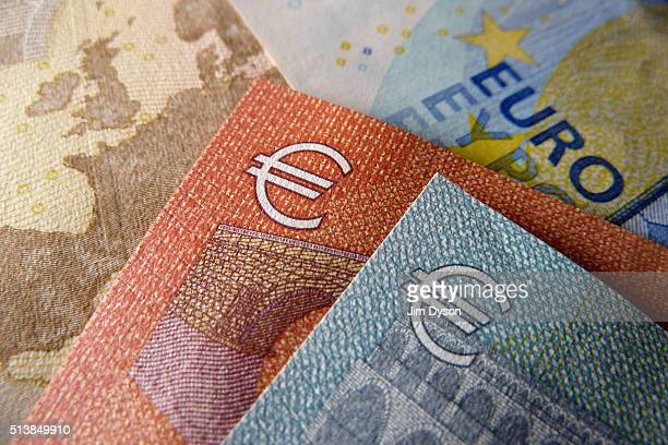 Detail of the five, ten, twenty and fifty Euro bank notes, on March 4, 2016 in London, England.