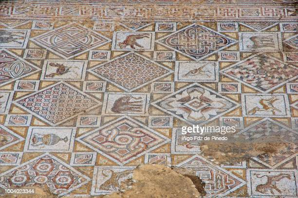 detail of the floor mosaic, st cosmas and st damian,  jerash, jordan. - roman decapolis city stock pictures, royalty-free photos & images