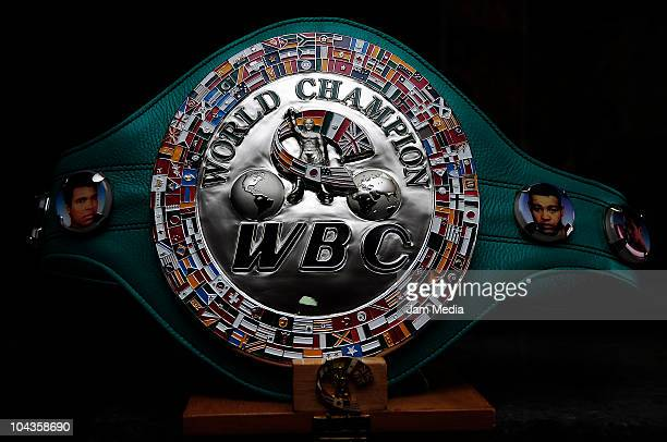 Detail of the flyweight Silver belt at WBC Offices during its delivery to Wilbert Uicab El Huracan on September 22 2010 in Mexico City Mexico