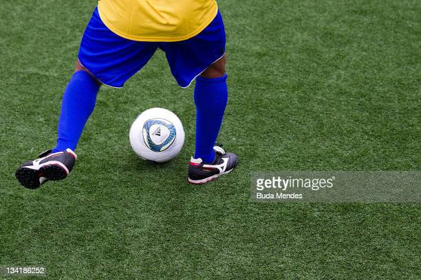 Detail of the football shoes of Aldair during a match as part of the the Soccerex Legends five-a-side Tournament at Copacabana Beach on November 27,...