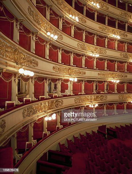 Detail of the four tiers of La Scala Theatre in Milan 17761778 architectural design by Giuseppe Piermarini Italy 18th century