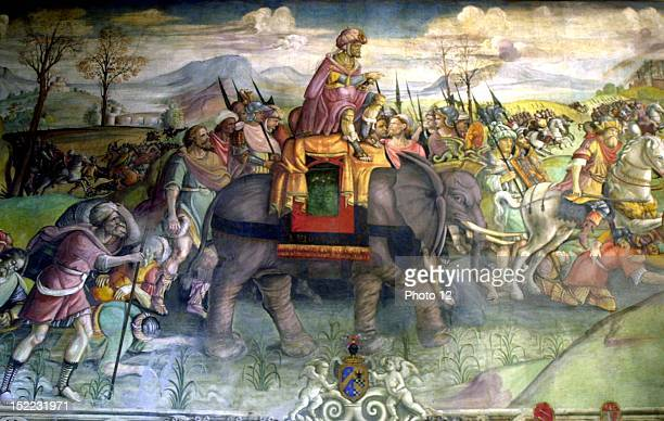 Detail of the fresco on Hannibal Hannibal riding his elephant Italy Rome Capitole museum
