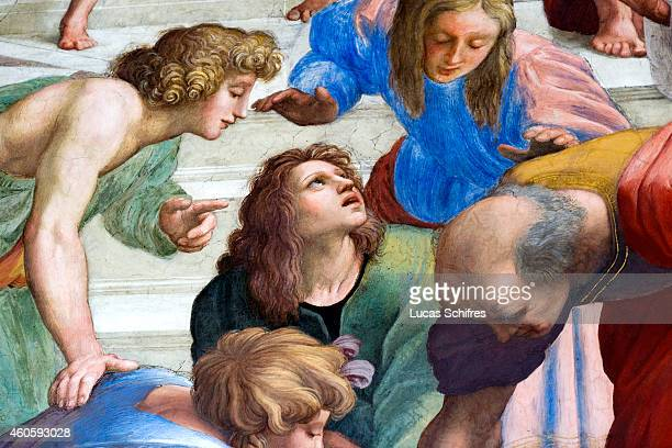 A detail of the fresco The School of Athens by Raphael on display in the Vatican Museums on August 4 in Rome Italy Vatican City a walled enclave...