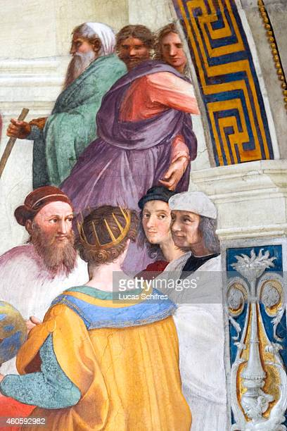 A detail of the fresco The School of Athens by Raphael shows Raphael himself in the Vatican Museums on August 4 in Rome Italy Vatican City a walled...
