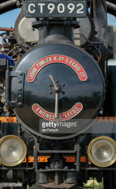 Detail of the front of a steam engine as it is displayed during the final day of the Whitby Traction Engine Rally on August 5, 2018 in Whitby,...