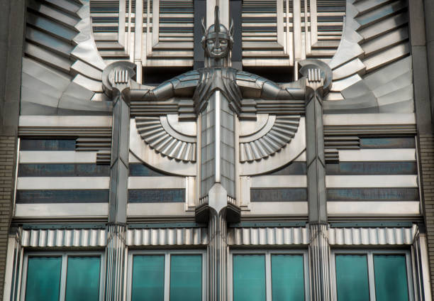 Detail of the front of the ART DECO STYLE Niagara Mohawk Building, now called the Niagara Hudson Building, in Syracuse, New York.