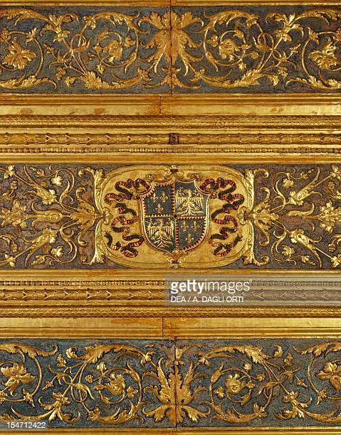 Detail of the gilded ceiling of the Studiolo of Isabella d'Este, Ducal Palace, Mantua . Italy, 13th-16th century.