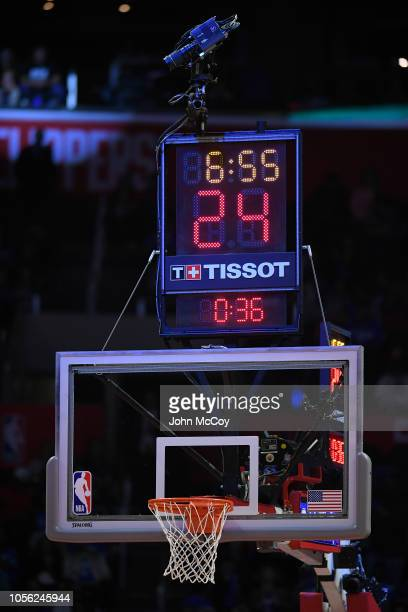 Detail of the goal and clock during the season opening game at Staples Center on October 17 2018 in Los Angeles California NOTE TO USER User...