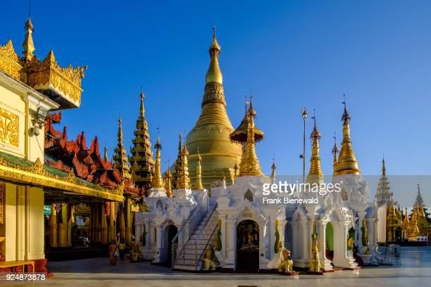 Detail of the golden Shwedagon pagoda the most sacred pagoda of Myanmar located on a hill in the centre of town