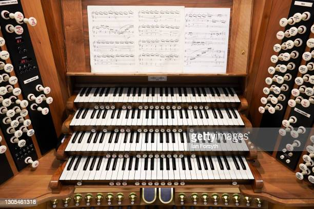 Detail of the Grand Organ in the cathedral's Nave at York Minster on March 5, 2021 in York, England. The playing of the organ comes ahead of a...