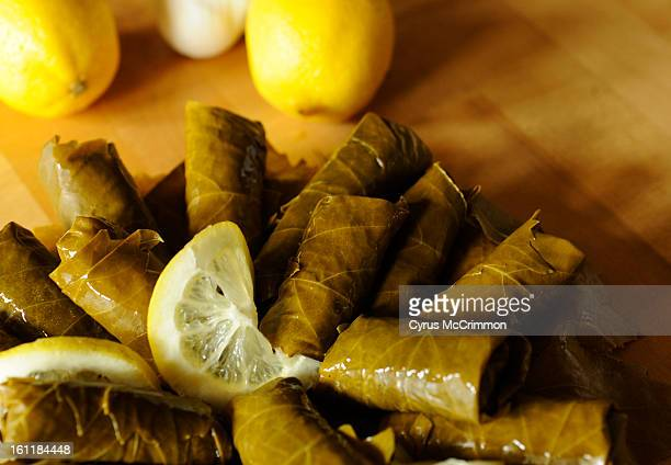 """Detail of the grape leafs in the dolmades from their new cook book called """"A Festival of Greek Flavors"""" done by the Greek Ladies Philoptochos Society..."""