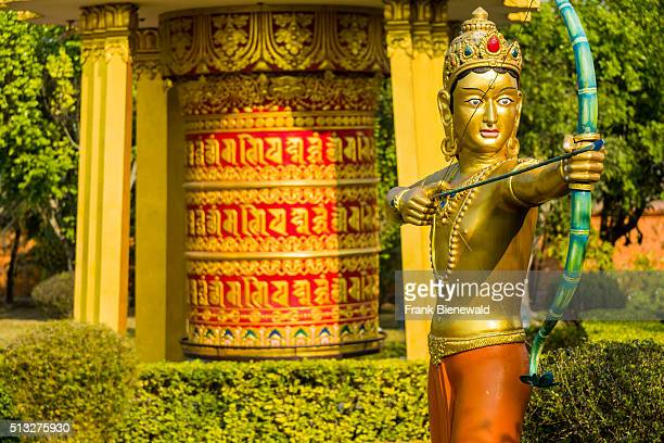 Detail of the Great Drigung Kugyud Lotus Stupa one of the many international Buddhist temples surrounding the birthplace of Siddhartha Gautama the...