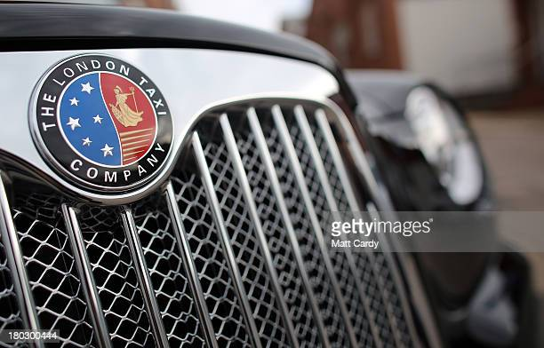 Detail of the grille and insignia of a completed TX4 London Taxi is seen inside the factory of The London Taxi Factory on September 11 2013 in...