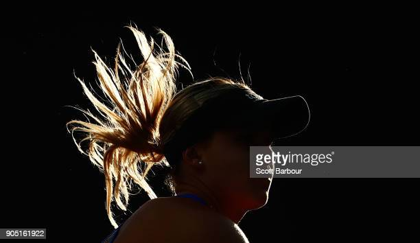 A detail of the hair of Jana Fett of Croatia as she serves in her first round match against Misa Eguchi of Japan of Croatia on day one of the 2018...