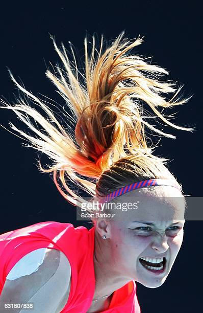 A detail of the hair of Rebecca Sramkova of Slovakia as she serves in her first round match against YingYing Duan of China on day one of the 2017...