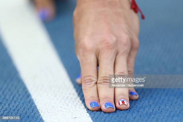 A detail of the hand of Celiangeli Morales of Puerto Rico as she competes in round one of the Women's 200m on Day 10 of the Rio 2016 Olympic Games at...