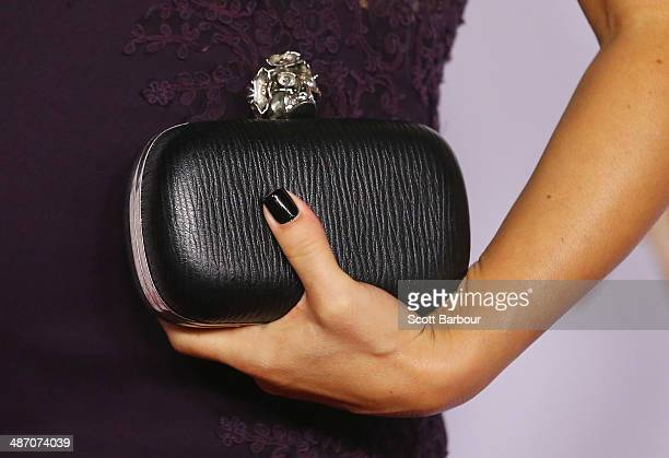 A detail of the handbag of Ada Nicodemou as she arrives at the 2014 Logie Awards at Crown Palladium on April 27 2014 in Melbourne Australia