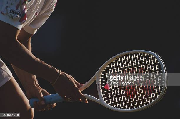 Detail of the hands and tennis racquet of Martina Navratilova during their Women's Singles first round match at the Pilkington Glass Championships on...