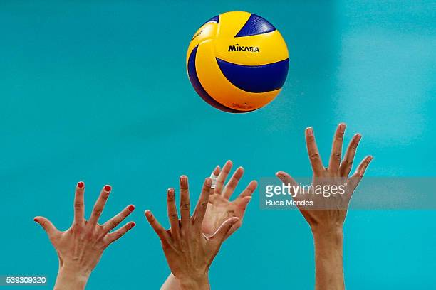 Detail of the hands and the ball during the match between Brazil and Japan on day 2 the FIVB Volleyball World Grand Prix at Carioca Arena 1 on June...