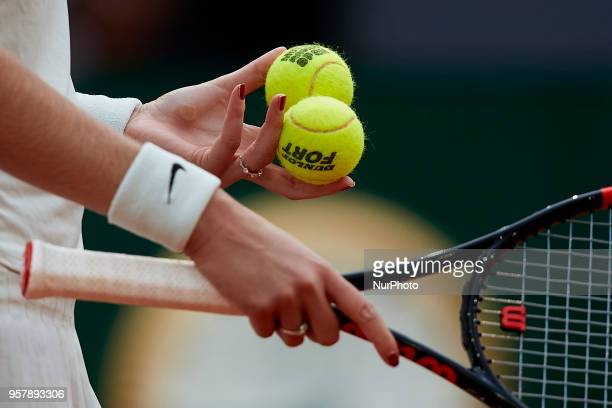 Detail of the hands Petra Kvitova of Czech Republic holding two tennis balls in action in her final match against Kiki Bertens of Netherlands during...