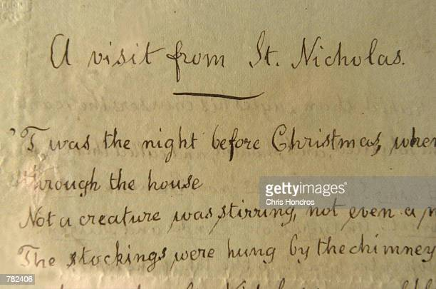 A detail of the handwritten copy of Clement Moore's 177 yearold poem A Visit from St Nicholas is shown at the Wall Street Rarities retail gallery...