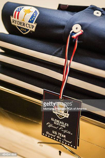 Detail of the hangtag on the Ryder Cup Team USA uniforms during the Ryder Cup Captain's Picks Media Tour at the Ralph Lauren Headquarters on...