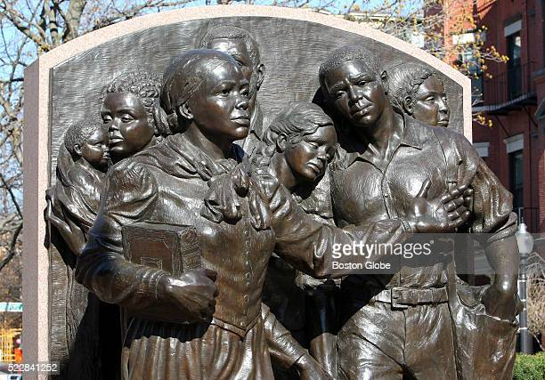 Detail of the Harriet Ross Tubman memorial in Harriet Tubman Park on Columbus Ave in the South End of Boston Mass April 20 2016