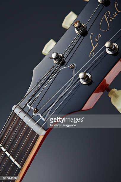Detail of the headstock on a 2013 Gibson Custom 1959 Les Paul Standard Reissue electric guitar taken on August 5 2013