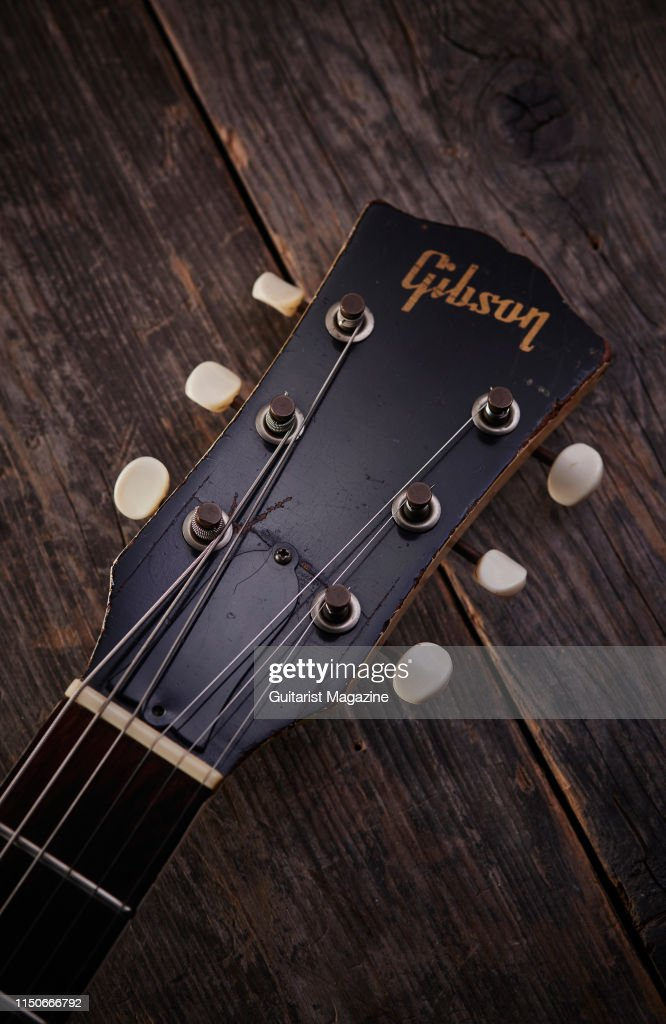 Detail of the headstock on a vintage 1962 Gibson SG TV